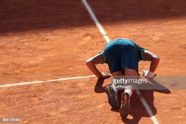 Joao Sousa of Portugal celebrates his victory over Stefanos Tsitsipas of Greece during the Millennium Estoril Open ATP 250 tennis tournament...