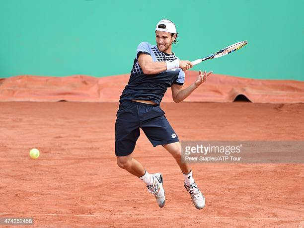 Joao Sousa of Portugal in action during his match against Pablo Andujar of Spain at the Geneva Open Parc des EauxVives on May 21 2015 in Geneva...