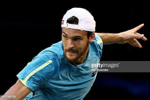 Joao Sousa of Portugal is seen during the men's singles second round match against Kei Nishikori of Japan on day three of Rakuten Open 2016 at Ariake...