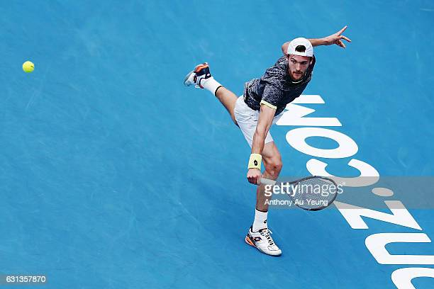 Joao Sousa of Portugal plays a backhand in his match against Albert RamosVinolas of Spain on day nine of the ASB Classic on January 10 2017 in...