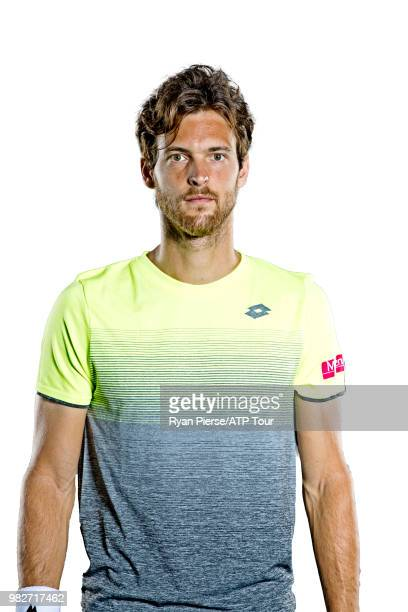 Joao Sousa of Portugal poses for portraits during the Australian Open at Melbourne Park on January 12 2018 in Melbourne Australia