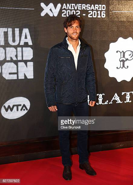 Joao Sousa of Portugal poses for the photographers at the players party during day two of the Mutua Madrid Open tennis tournament at the Caja Magica...