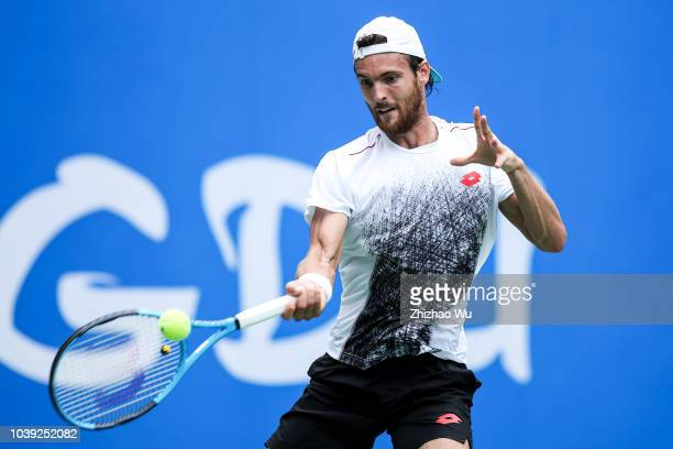 Joao Sousa of Portugal reacts against Tim Smyczek of the United States during 2018 ATP Chengdu Open at Sichuan International Tennis Centre on...