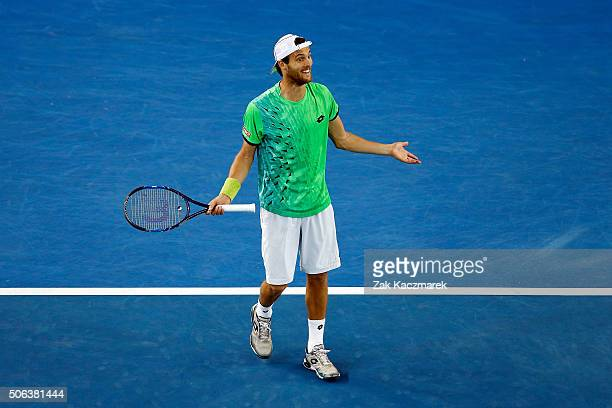 Joao Sousa of Portugal reacts during his third round match against Andy Murray of Great Britain during day six of the 2016 Australian Open at...