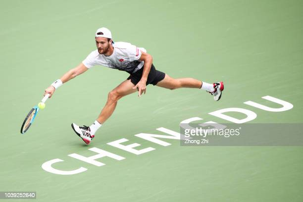 Joao Sousa of Portugal returns a shot against Tim Smyczek of the United States during 2018 ATP Chengdu Open at Sichuan International Tennis Centre on...