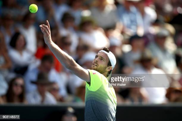 Joao Sousa of Portugal serves during his his second round match against David Ferrer of Spain on day three of the ASB Men's Classic at ASB Tennis...