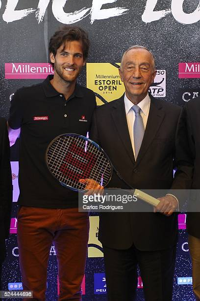 Joao Sousa Portuguese Tenis Player and Marcelo Rebelo Sousa Portuguese President during Millennium Estoril Open 2016 at Clube de Tenis do Estoril on...