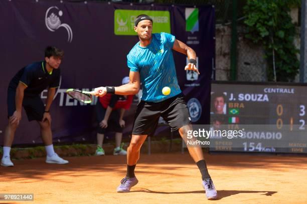 Joao Souza during match between Joao Souza and Riccardo Bonadio during day 2 at the Interzionali di Tennis Citt dell'Aquila in L'Aquila, Italy, on...