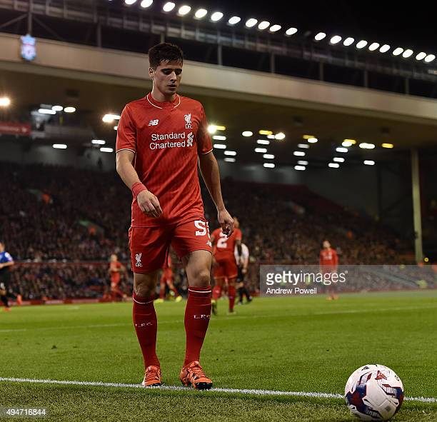 Joao Teixeira of Liverpool during the Capital One Cup Fourth Round match between Liverpool and AFC Bournemouth at Anfield on October 28 2015 in...