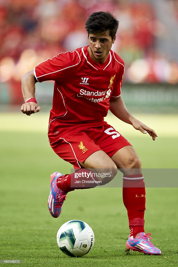 Joao Teixeira of Liverpool FC controls the ball during the Pre-Season Friendly match between Brondby IF and Liverpool FC at Brondby stadium on July 16, 2014 in Brondby, Denmark.