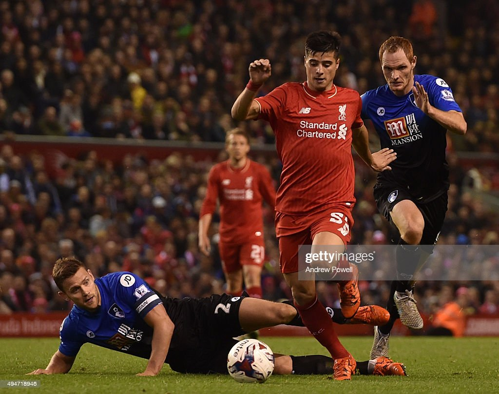 Joao Teixeira of Liverpool runs at the AFC Bournemouth players during the Capital One Cup Fourth Round match between Liverpool and AFC Bournemouth at Anfield on October 28, 2015 in Liverpool, England.