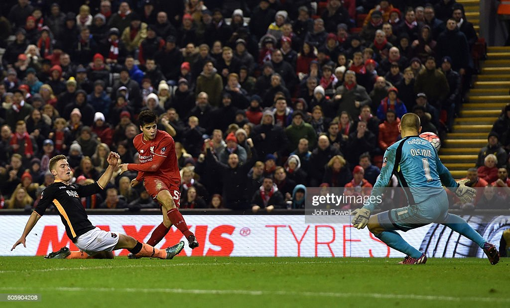 Joao Teixeira of Liverpool scores the third goal during The Emirates FA Cup Third Round Replay between Liverpool and Exeter City at Anfield on January 20, 2016 in Liverpool, England.