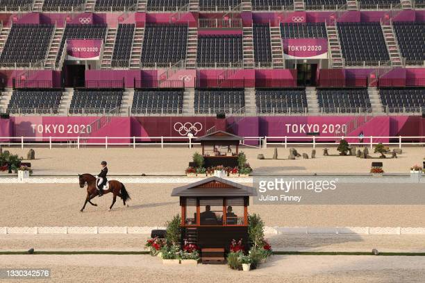 Joao Victor Marcari Oliva of Brazil riding Escorial competes in the Dressage Individual Grand Prix Qualifier on day one of the Tokyo 2020 Olympic...