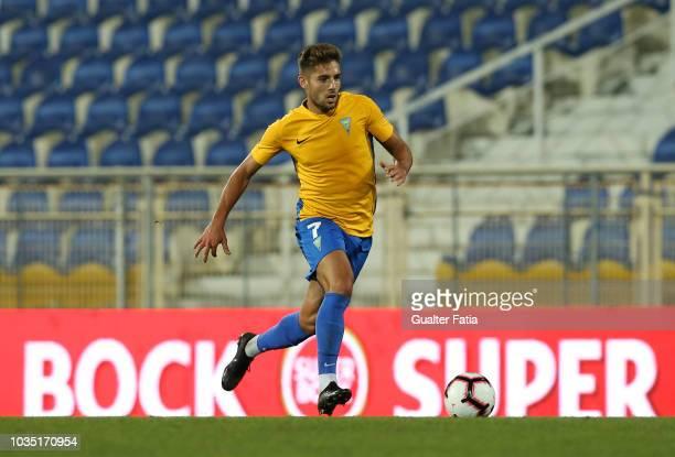 Joao Vigario of GD Estoril Praia in action during the Portuguese League Cup match between GD Estoril Praia and CD Feirense at Estadio Antonio Coimbra...