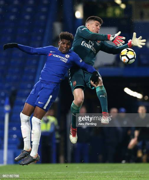 Joao Virginia of Arsenal clashes with Dujon Sterling of Chelsea during the FA Youth Cup Final first leg match between Chelsea and Arsenal at Stamford...
