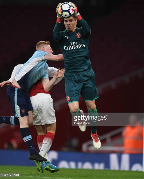 Joao Virginia of Arsenal during the match between Arsenal and Blackpool at Emirates Stadium on April 16 2018 in London England