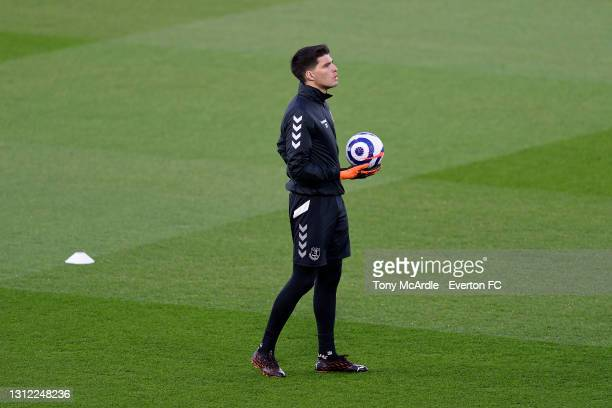 Joao Virginia warms up before the Premier League match between Brighton and Hove Albion and Everton at the American Express Community Stadium on...