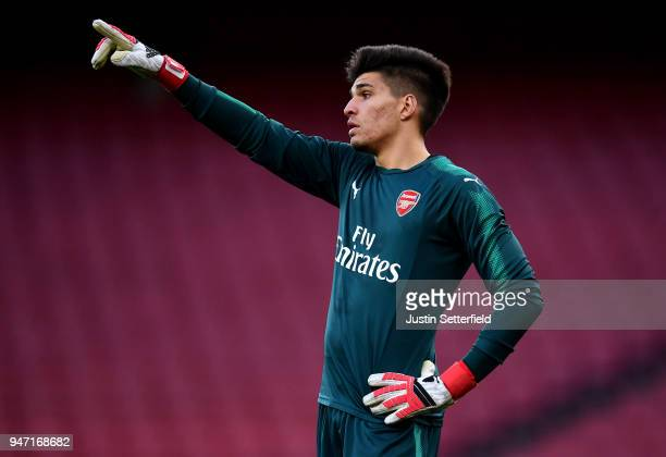 Joao Virginiac of Arsenal during the FA Youth Cup Semi Final 2nd Leg between Arsenal and Blackpool at Emirates Stadium on April 16 2018 in London...