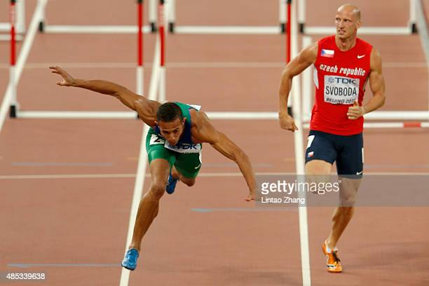 Joao Vitor De Oliveira of Brazil falls in the Men's 110 metres hurdles semi-final during day six of the 15th IAAF World Athletics Championships...