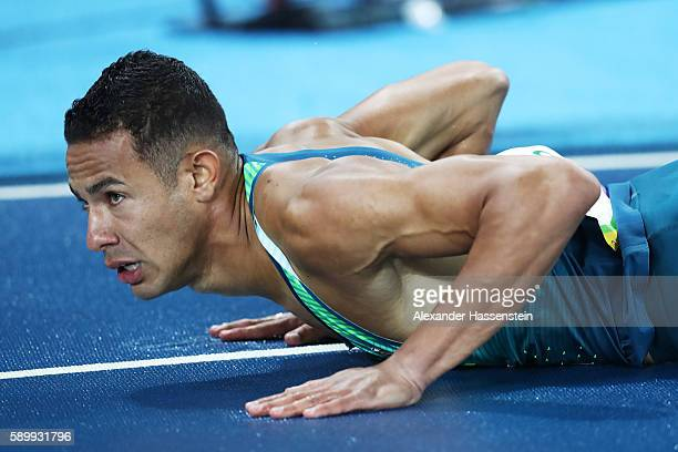 Joao Vitor de Oliveira of Brazil reacts after falling following the Men's 110m Hurdles Round 1 Heat 3 on Day 10 of the Rio 2016 Olympic Games at the...