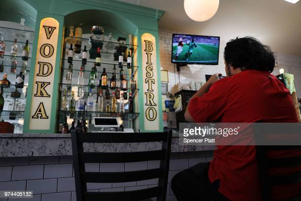 Joao Yniquez watches the opening soccer match of the 2018 FIFA World Cup at Cafe Max in Russian enclave Brighton Beach June 14 2018 in the Brooklyn...