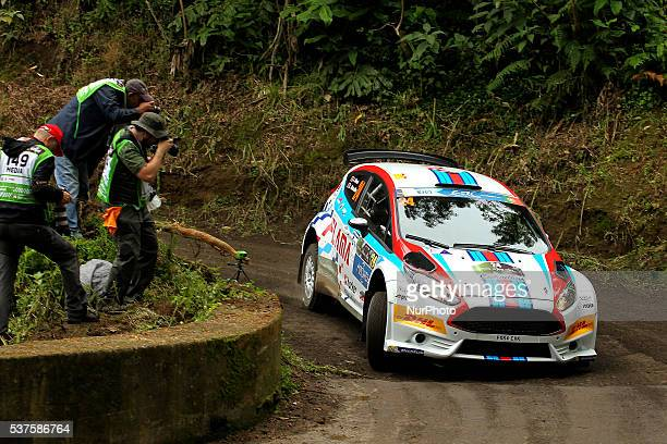 Joaquim Alves and Luis Ramalho in Ford Fiesta R5 during the shakedow of the FIA ERC Azores Airlines Rallye 2016 in Ponta Delgada Azores Portugal on...