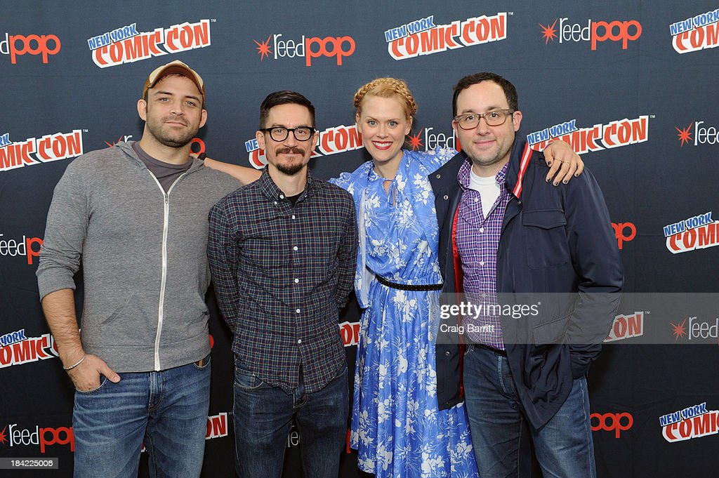 Joaquim Dos Santos, Bryan Konietzko, Janet Varney and PJ Byrne attend the Korra panel at the 2013 New York Comic Con at Javits Ceter on October 12, 2013 in New York City.