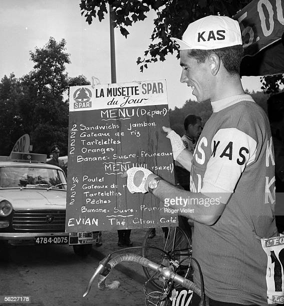 Joaquim Galera Spanish racing cyclist presenting the menu of a stage of the Tour de France 1964 RV411838