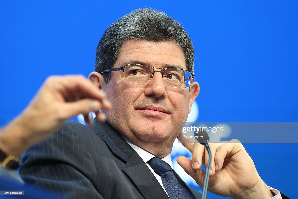 Joaquim Levy, Brazil's finance minister, pauses during a session on the final day of the World Economic Forum (WEF) in Davos, Switzerland, on Saturday, Jan. 24, 2015. World leaders, influential executives, bankers and policy makers attend the 45th annual meeting of the World Economic Forum in Davos from Jan. 21-24. Photographer: Simon Dawson/Bloomberg via Getty Images