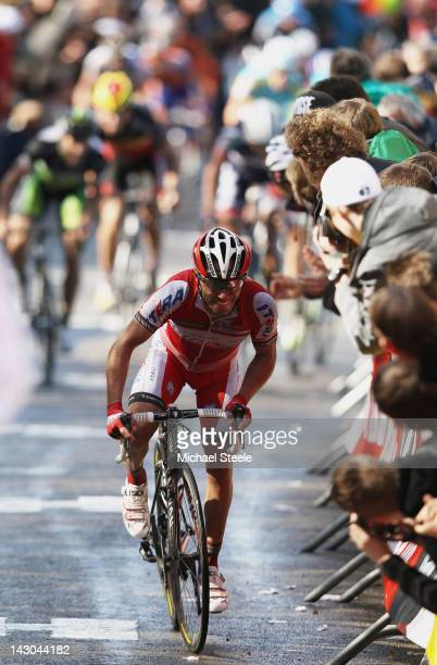 Joaquim Oliver Rodriguez of Spain and Team Katusha on his way to claiming victory during the men's race of La Fleche Wallonne on April 18 2012 in Huy...