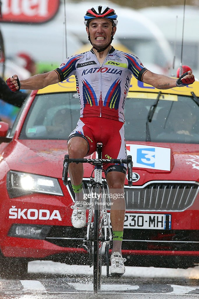 Joaquim Rodriguez of Spain riding for Team Katusha celebrates as he crosses the finish line to win stage 12 of the 2015 Tour de France from Lannemezan to Plateau de Belle on July 16, 2015 in Plateau de Beille, France.