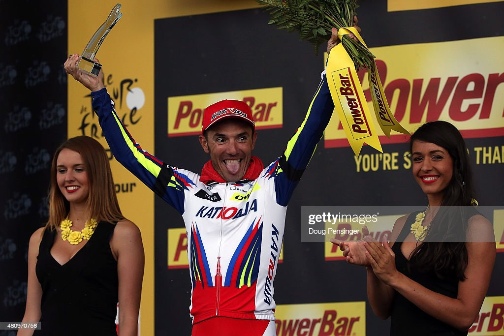 Joaquim Rodriguez of Spain riding for Team Katusha celebrates on the podium after winning stage 12 of the 2015 Tour de France from Lannemezan to Plateau de Belle on July 16, 2015 in Plateau de Beille, France.
