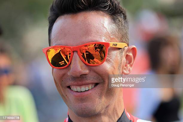 Joaquim Rodriguez of Spain riding for Team Katusha looks on as he prepares for the teams presentation for the 100th Tour de France on June 27 2013 in...