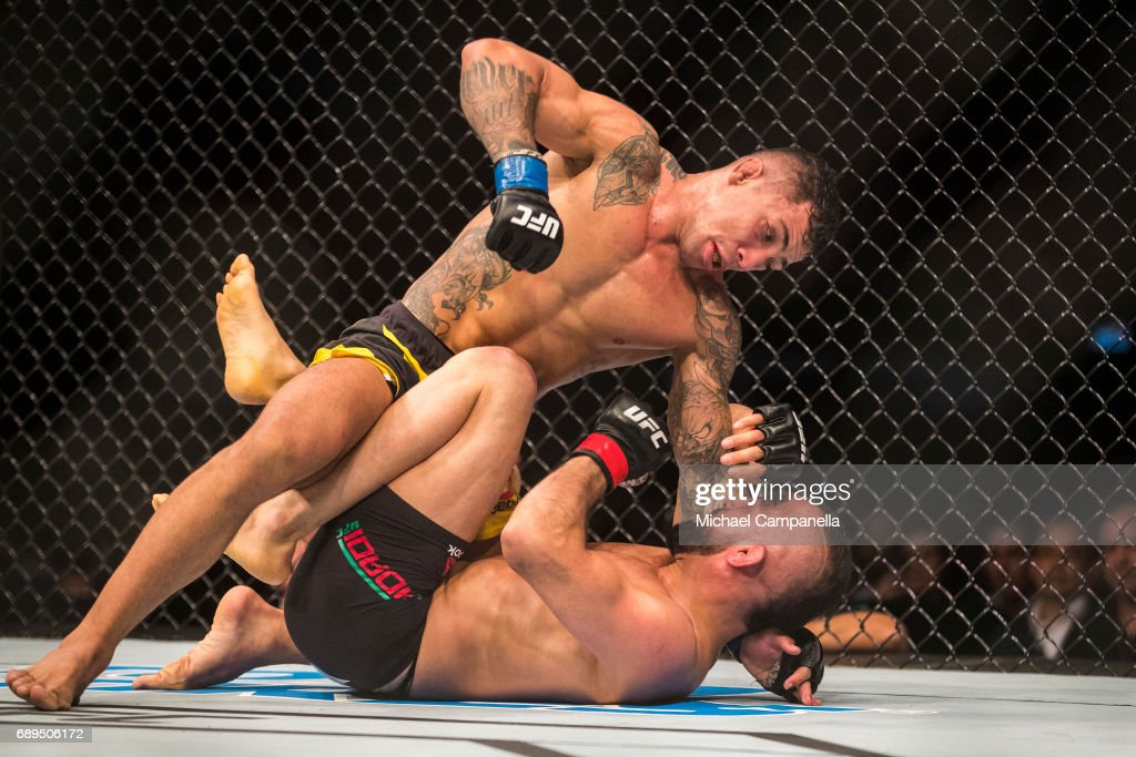 Joaquim Silva prepares to punch at Reza Madadi during the UFC Fight Night event at Ericsson Globe on May 28, 2017 in Stockholm, Sweden.