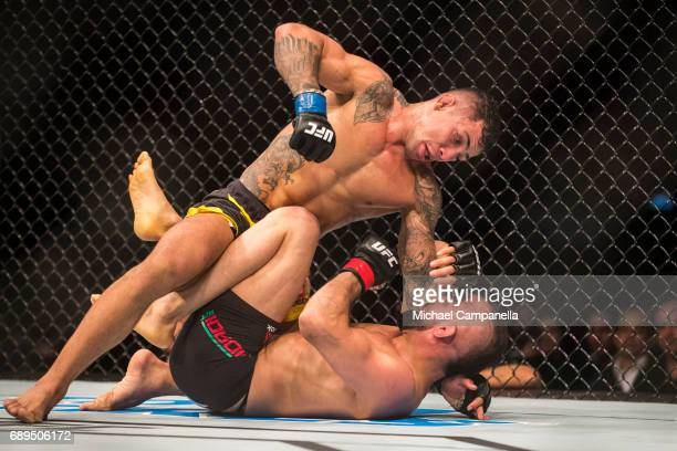 Joaquim Silva prepares to punch at Reza Madadi during the UFC Fight Night event at Ericsson Globe on May 28 2017 in Stockholm Sweden