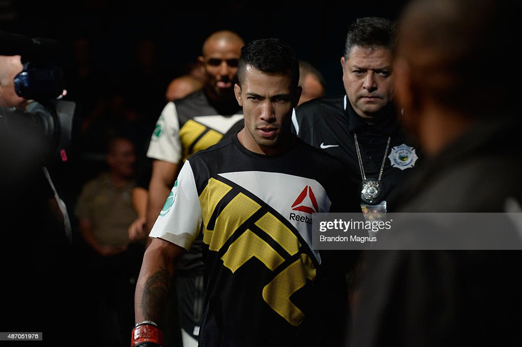 Joaquim Silva walks to the Octagon to face Nazareno Malegarie in their lightweight bout during the UFC 191 event inside MGM Grand Garden Arena on September 5, 2015 in Las Vegas, Nevada.