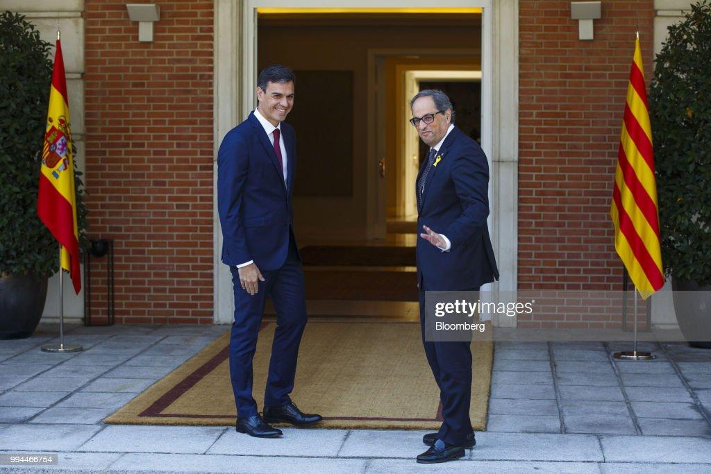 Spain's President Pedro Sanchez Meets Catalan President Joaquim Torra