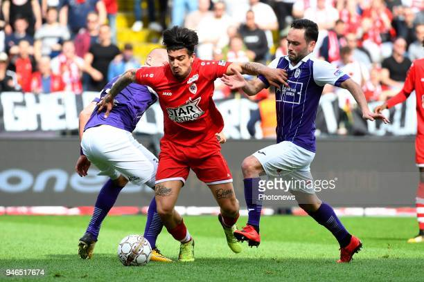Joaquin Ardaiz forward of Antwerp FC Alexander Maes of Beerschot Wilrijk during the Jupiler Pro League play off 2 match between Royal Antwerp FC and...
