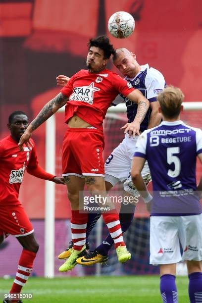 Joaquin Ardaiz forward of Antwerp FC Denis Prychynenko of Beerschot Wilrijk during the Jupiler Pro League play off 2 match between Royal Antwerp FC...