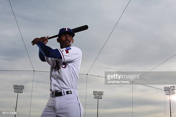 Joaquin Arias poses for a portrait during the Texas rangers Photo Day at Surprise on March 2 2010 in Surprise Arizona