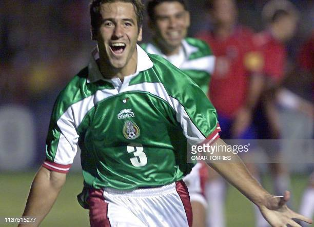Joaquin Beltran of Mexico celebrates his second goal for the team in a game against Costa Rica in Guadalajara Mexico 08 April 2000 Joaquin Beltran de...