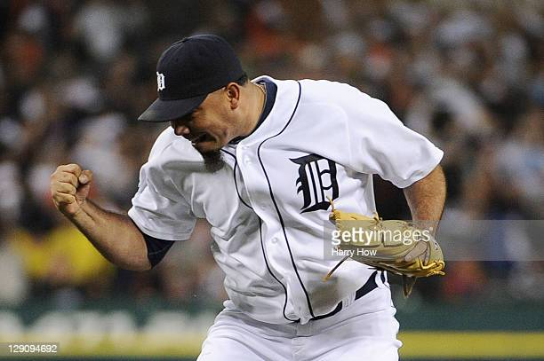 Joaquin Benoit of the Detroit Tigers celebrates a strike out of Adrian Beltre of the Texas Rangers in the eighth inning of Game Four of the American...