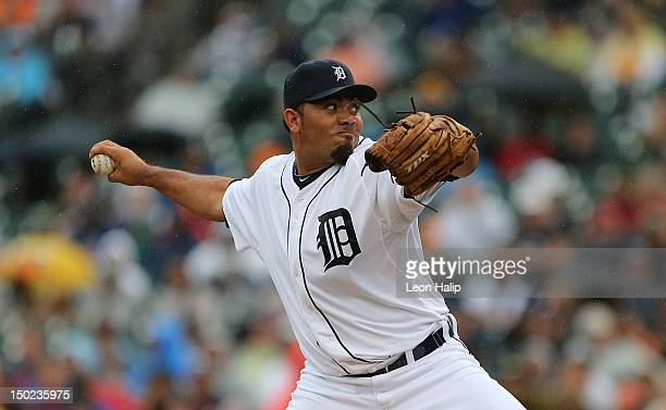 Joaquin Benoit of the Detroit Tigers pitches during the game against the New York Yankees during the game at Comerica Park on August 9 2012 in...