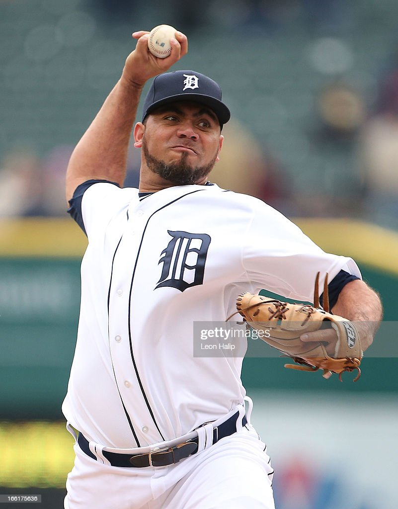 Joaquin Benoit #53 of the Detroit Tigers pitches in the ninth inning during the game against the Toronto Blue Jays at Comerica Park on April 9, 2013 in Detroit, Michigan. The Tigers defeated the Blue Jays 7-3.