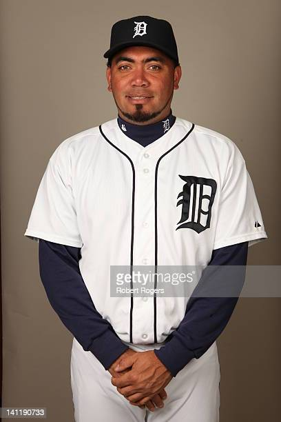 Joaquin Benoit of the Detroit Tigers poses during Photo Day on Tuesday February 28 2012 at Joker Marchant Stadium in Lakeland Florida