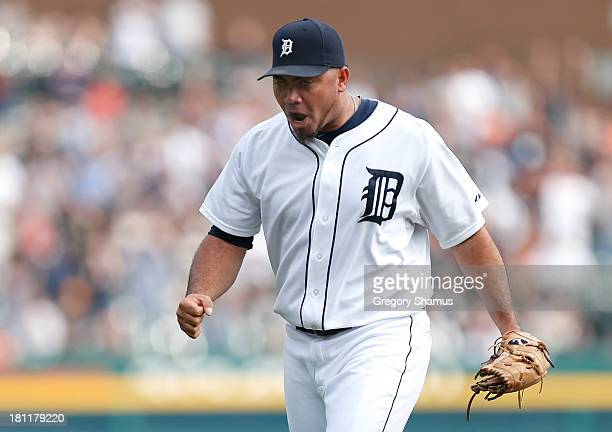 Joaquin Benoit of the Detroit Tigers reacts after beating the Seattle Mariners 54 at Comerica Park on September 19 2013 in Detroit Michigan