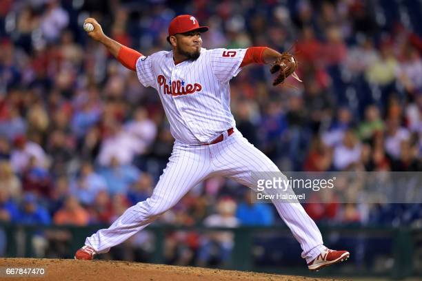 Joaquin Benoit of the Philadelphia Phillies delivers a pitch in the ninth inning against the New York Mets at Citizens Bank Park on April 12 2017 in...