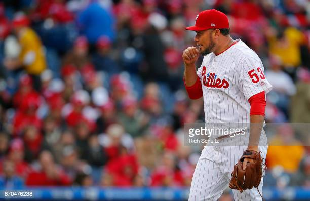 Joaquin Benoit of the Philadelphia Phillies in action against the Washington Nationals in a game at Citizens Bank Park on April 7 2017 in...