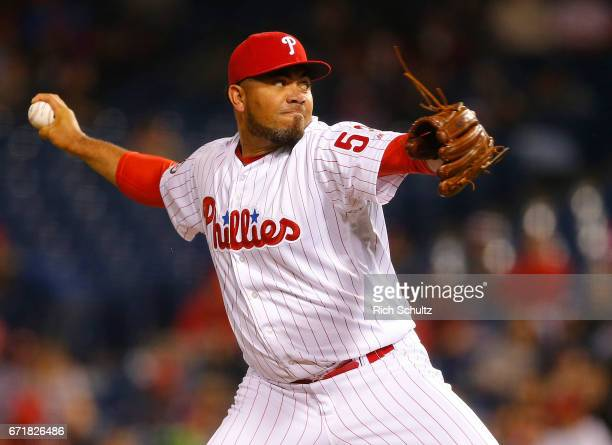 Joaquin Benoit of the Philadelphia Phillies in action against the Atlanta Braves during the first inning of a game at Citizens Bank Park on April 21...