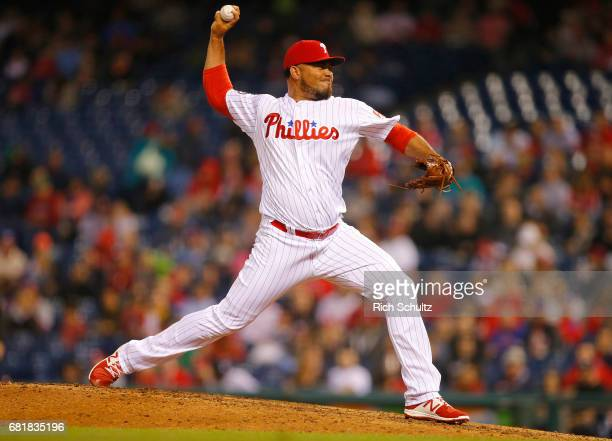 Joaquin Benoit of the Philadelphia Phillies in action against the Atlanta Braves during a game at Citizens Bank Park on April 21 2017 in Philadelphia...